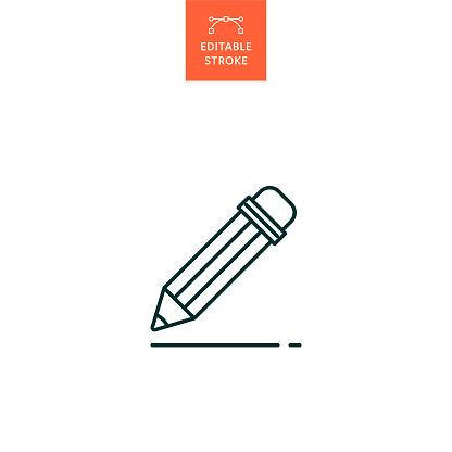 Pencil Icon with Editable Stroke