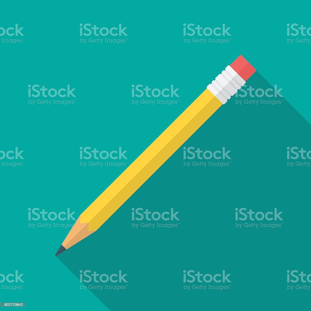 Pencil icon with long shadow. vector art illustration