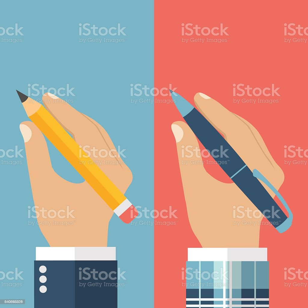 Pencil in hand. Pen in hand. vector art illustration