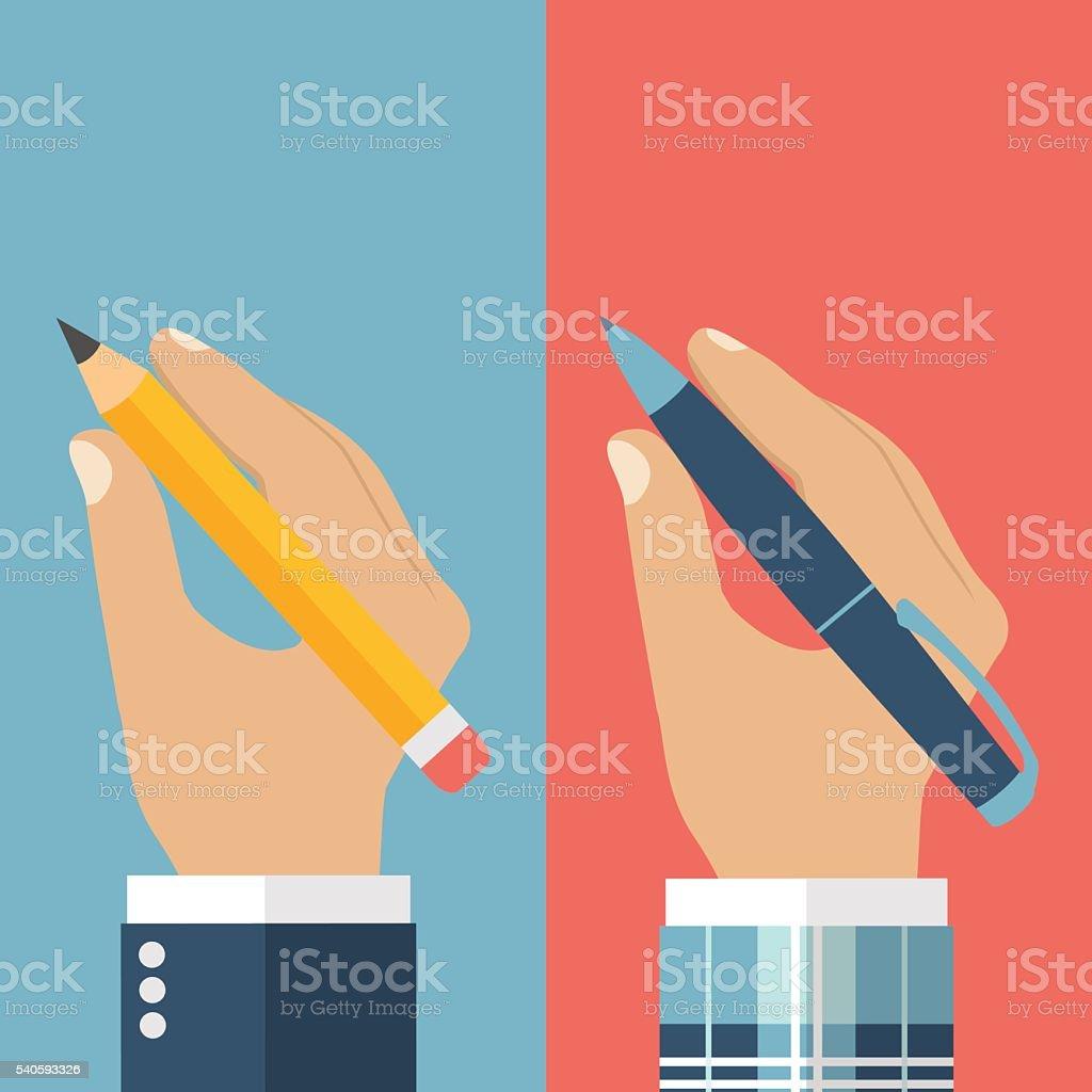 Pencil in hand. Pen in hand. vector art illustration