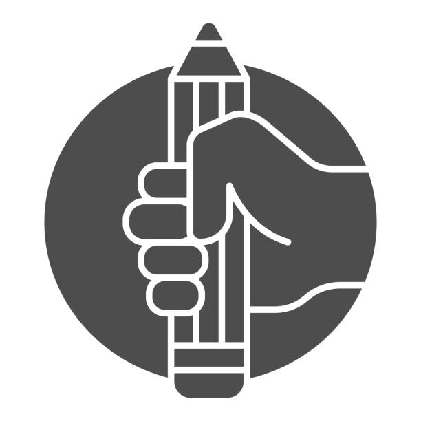 Pencil in hand solid icon, art concept, large pencil in hand sign on white background, hand holds pencil icon in glyph style for mobile concept and web design. Vector graphics. Pencil in hand solid icon, art concept, large pencil in hand sign on white background, hand holds pencil icon in glyph style for mobile concept and web design. Vector graphics human finger stock illustrations