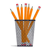 Pencil in holder basket, drawing equipment. Vector