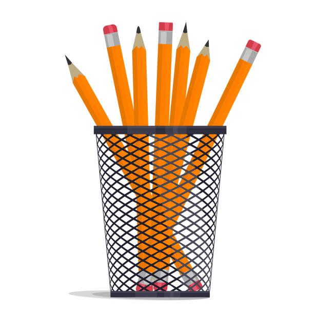 Pencil in holder basket, drawing equipment. Vector vector art illustration