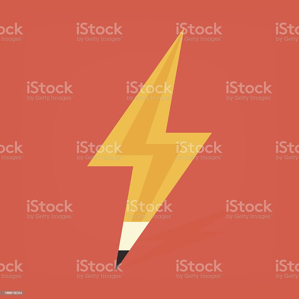 pencil in thunder shape royalty-free stock vector art