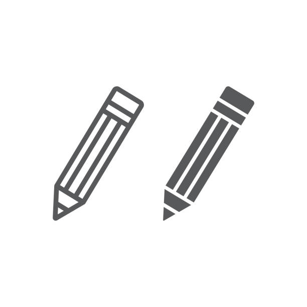 pencil line and glyph icon, tools and design, pen sign, vector graphics, a linear pattern on a white background, eps 10. - ołówek stock illustrations