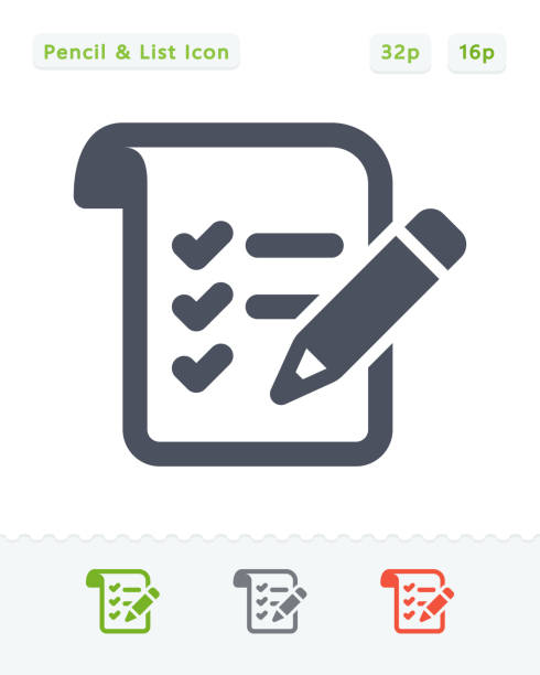 Pencil & List - Sticker Icons A professional, pixel-aligned icon designed on a 32x32 pixel grid and redesigned on a 16x16 pixel grid for very small sizes. survey icon stock illustrations