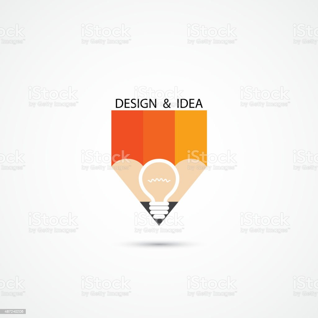 Pencil Logo And Creative Light Bulb Idea Symbol Vector Template Stock Illustration Download Image Now Istock