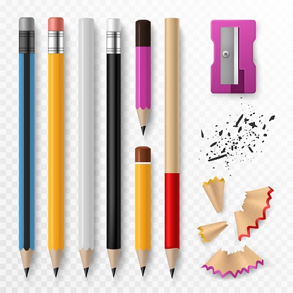 Pencil mockup. Realistic colored wooden graphite pencils with shavings and sharpener, school office stationery, creative design vector set
