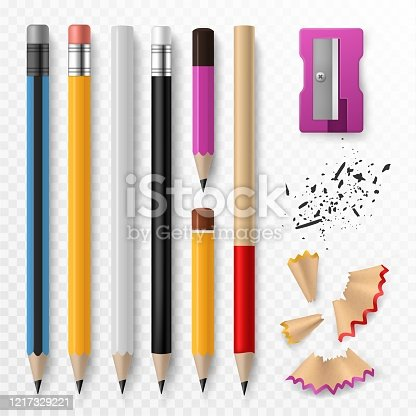 Pencil mockup. Realistic colored wooden graphite pencils with shavings and sharpener, school office stationery, creative design vector bright set