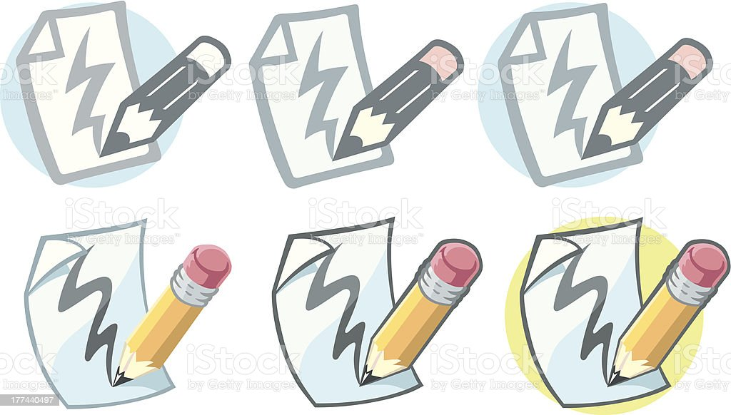 Pencil paper icon royalty-free stock vector art