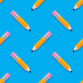 Vector illustration of pencils in a repeating pattern against a blue background.