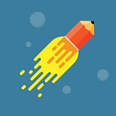 Pencil rocket. Concept of success in education.