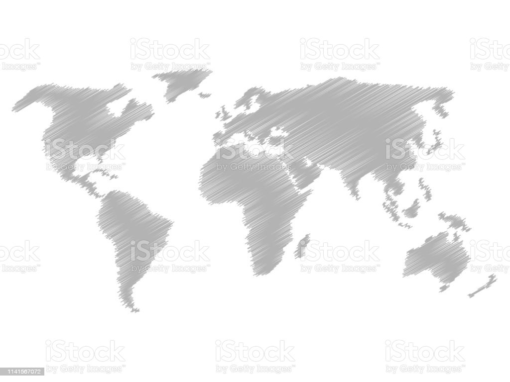 Pencil scribble sketch map of world hand doodle drawing grey vector illustration on white background illustration