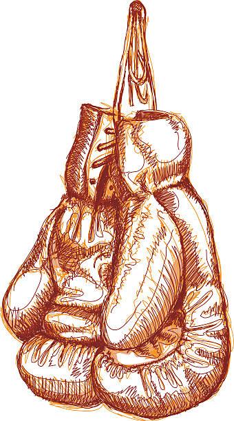 A pencil sketch of boxing gloves in red vektorkonstillustration