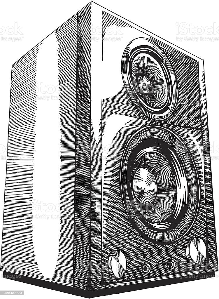 speakers art. a pencil sketch of speakers on white background royalty-free stock vector art