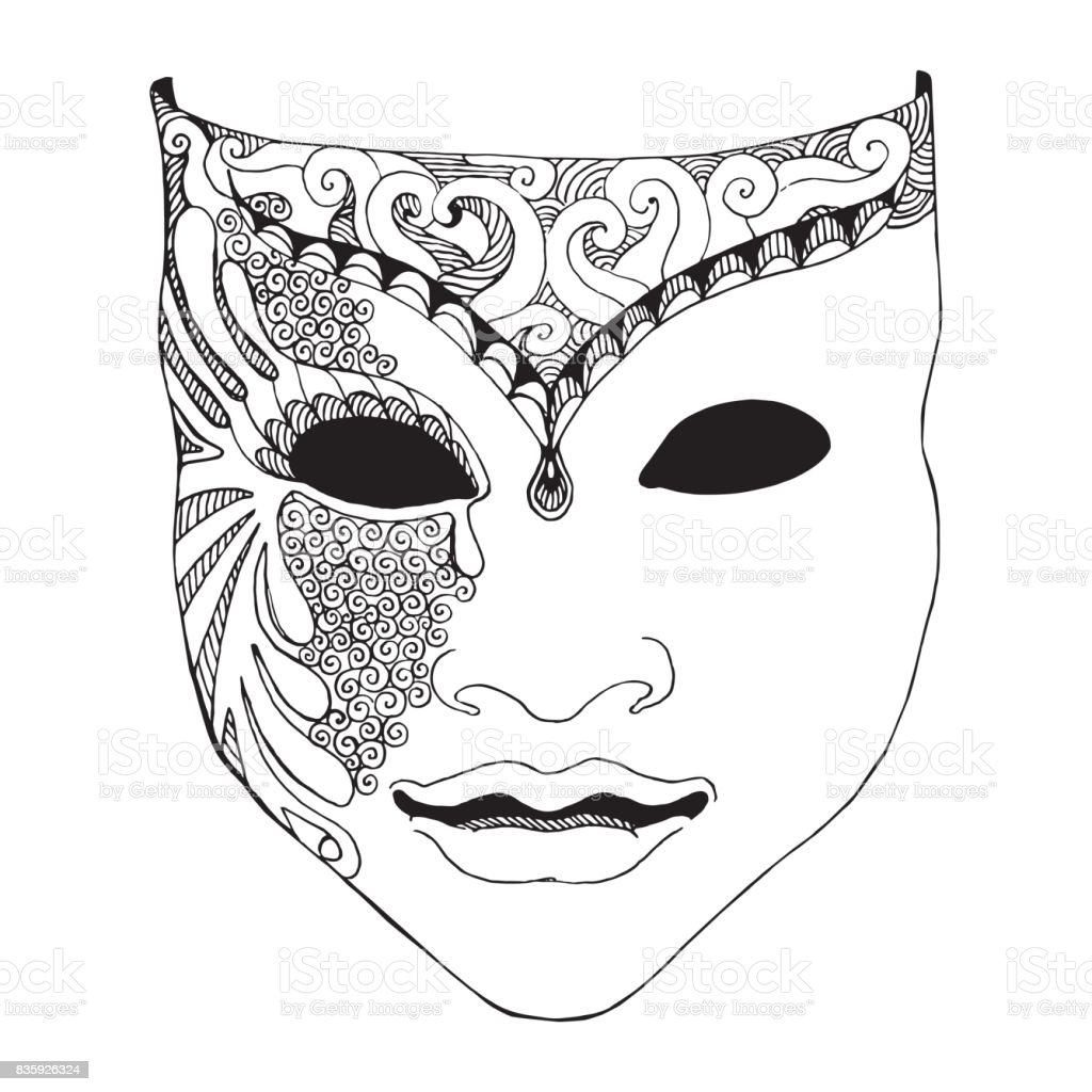 Pencil sketch of venetian mask carnival costume outline hand