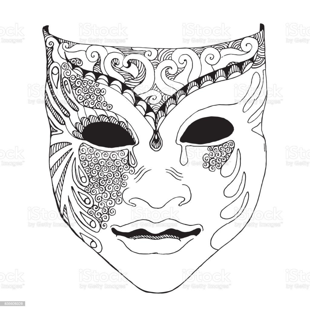 Pencil Sketch Of Venetian Mask Carnival Costume Outline Hand Draw Vector Illustration Royalty