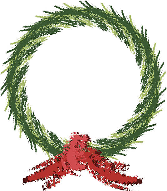 Pencil Sketch Style Holiday Wreath vector art illustration