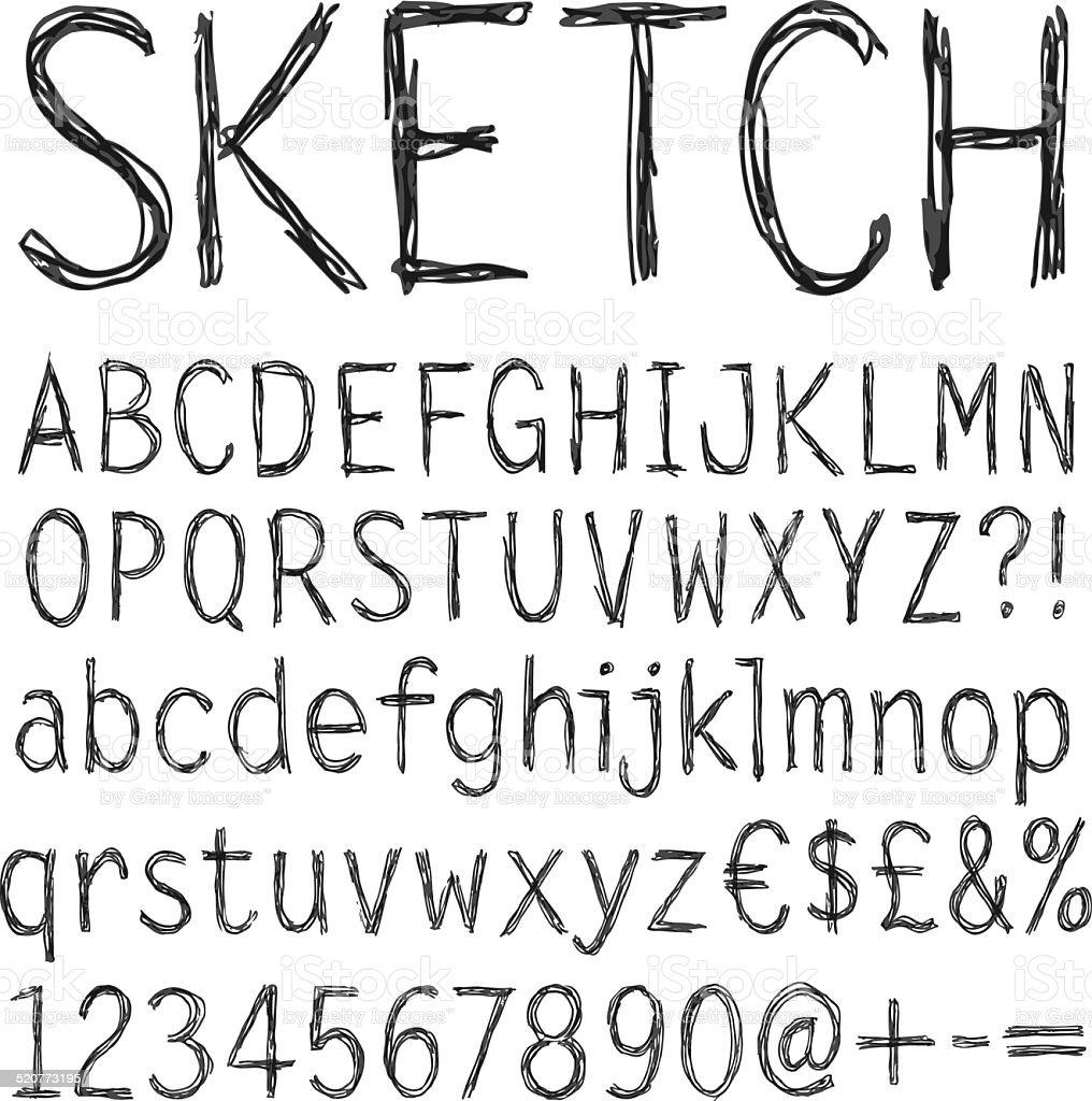 Sehr Crayon Texture Écriture Manuscrite Police Stock Vecteur Libres de  BJ04