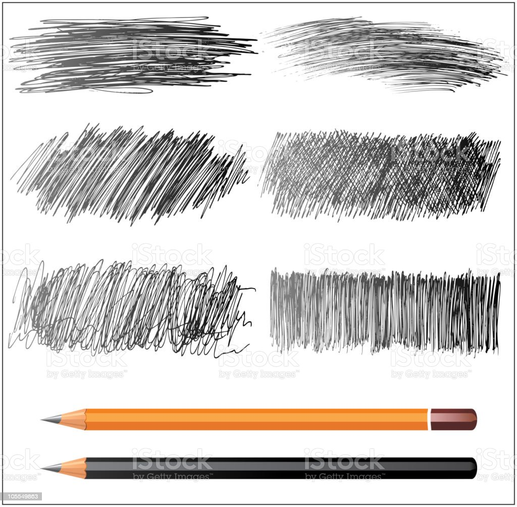 pencil textures vector art illustration