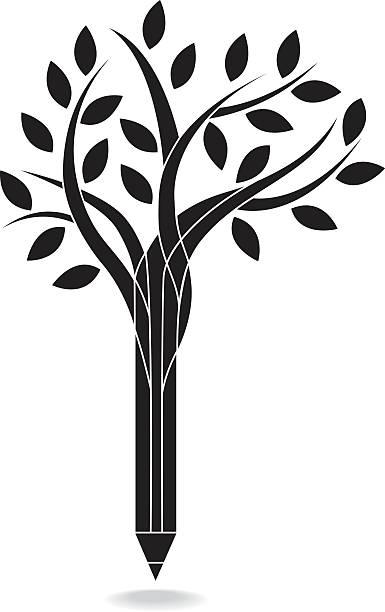 Pencil tree vector art illustration