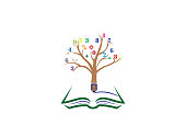 Pencil tree with numbers in twigs and write in an open book for logo design illustrator