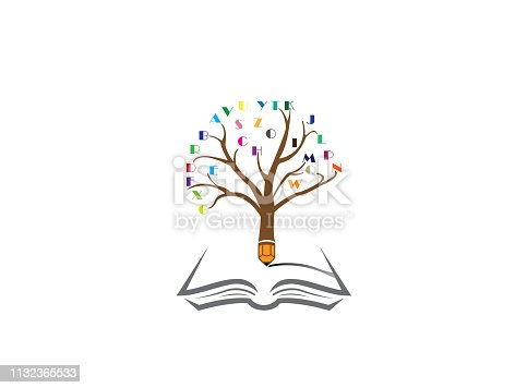 Pencil tree with the alphabet in twigs and write in an open book for logo design