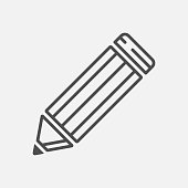 Pencil vector linear icon on white background