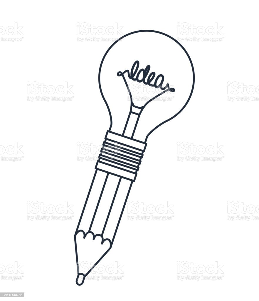 pencil with bulb isolated icon design royalty-free pencil with bulb isolated icon design stock vector art & more images of backgrounds