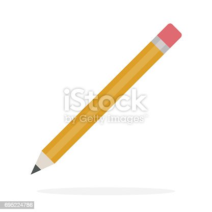 Pencil with eraser vector flat material design isolated on white