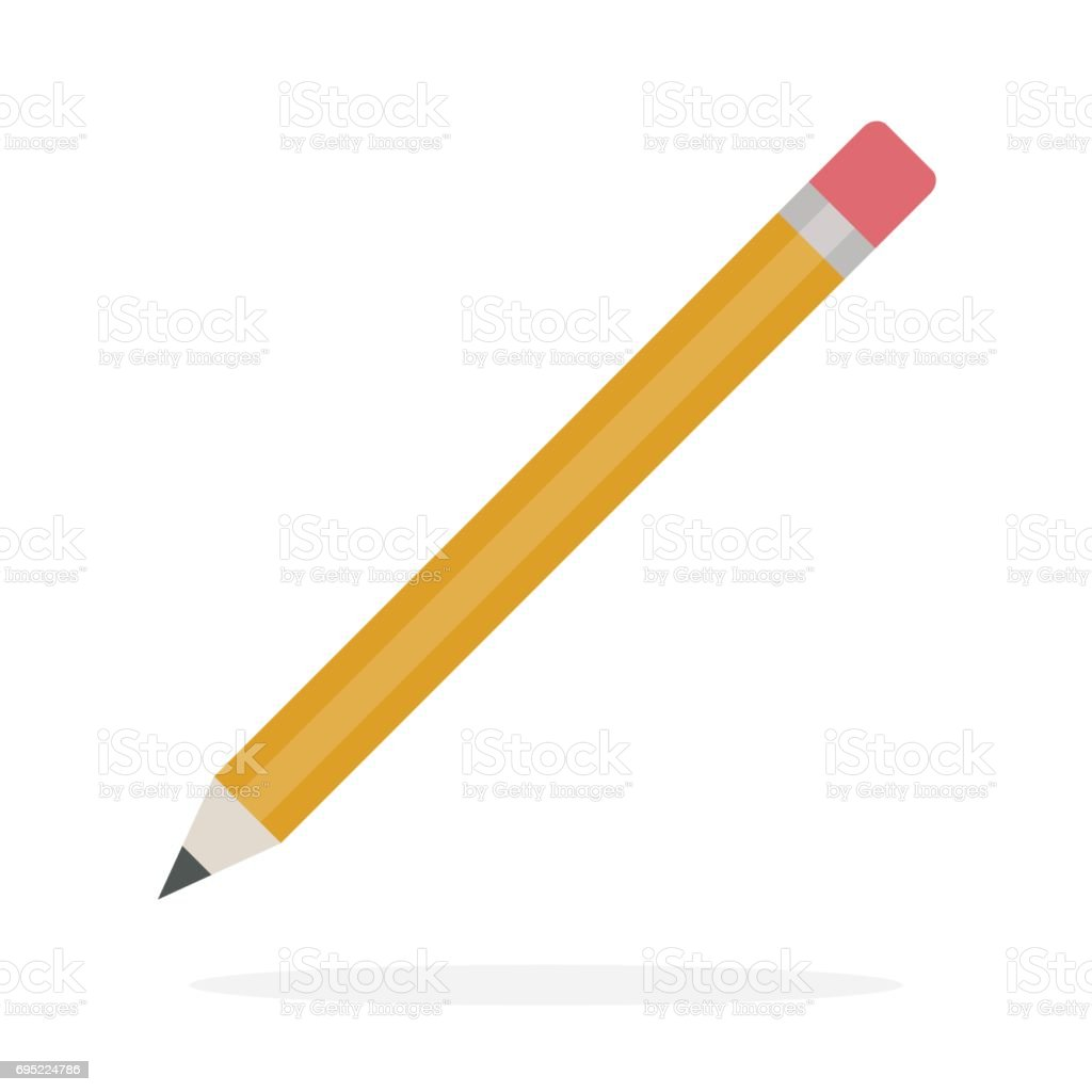 Pencil with eraser vector flat isolated vector art illustration