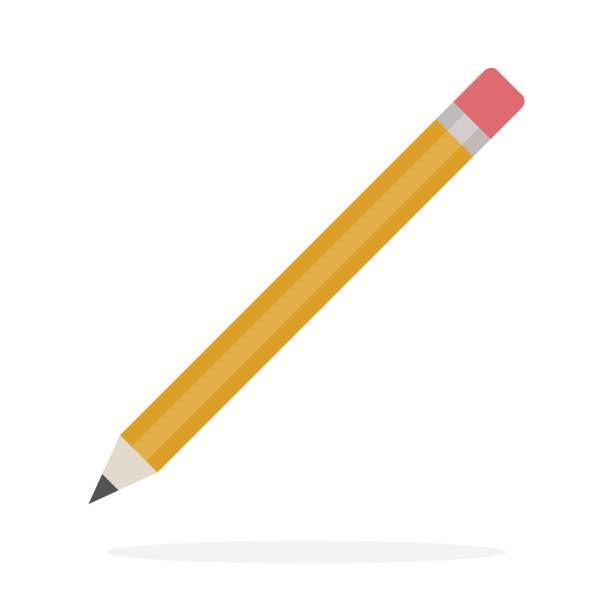 pencil with eraser vector flat isolated - ołówek stock illustrations