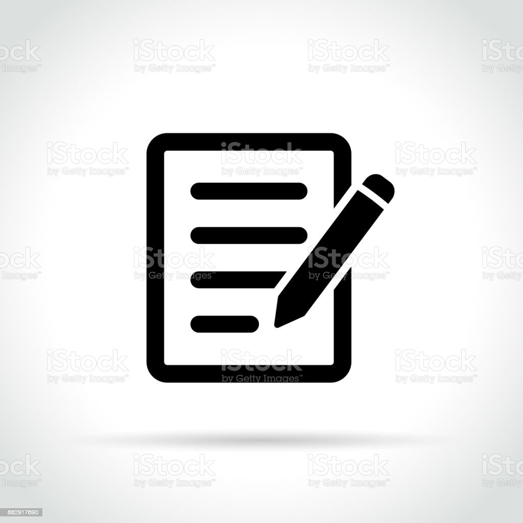 pencil with paper icon royalty-free pencil with paper icon stock illustration - download image now