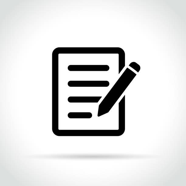 ołówek z ikoną papieru - notes stock illustrations