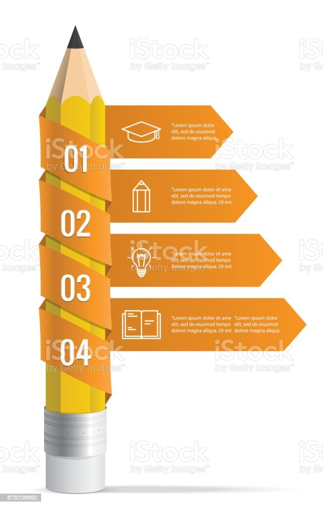 Pencil with ribbons arrow illustration infographics template illustration vector for plan design presentation, Infographic concept. royalty-free pencil with ribbons arrow illustration infographics template illustration vector for plan design presentation infographic concept stock vector art & more images of abstract