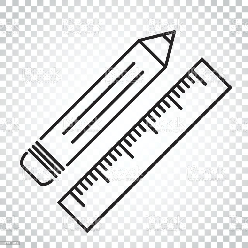 Pencil with ruler icon ruler meter vector illustration for Simple single