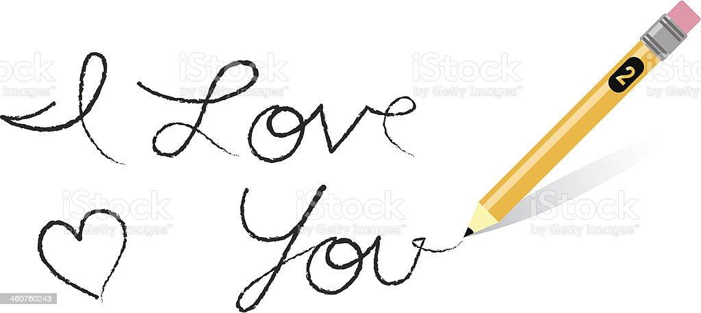 Pencil Writes I Love You royalty-free stock vector art