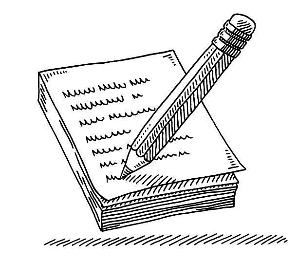 bleistift schreiben einer nachricht auf notizblock zeichnung - schriftnachricht stock-grafiken, -clipart, -cartoons und -symbole