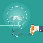 Pencil writing light bulb,writing Idea concept,vector illustration.