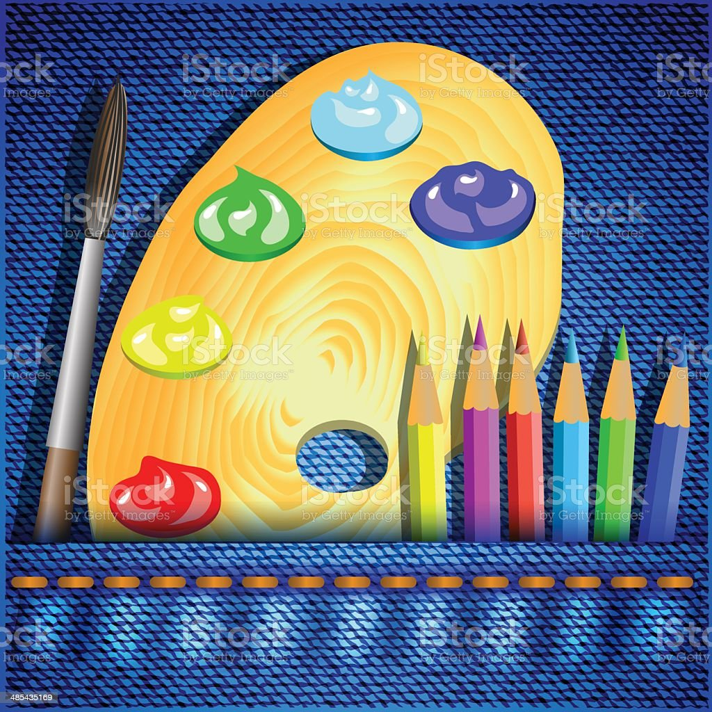 pencils and paintbrush royalty-free stock vector art