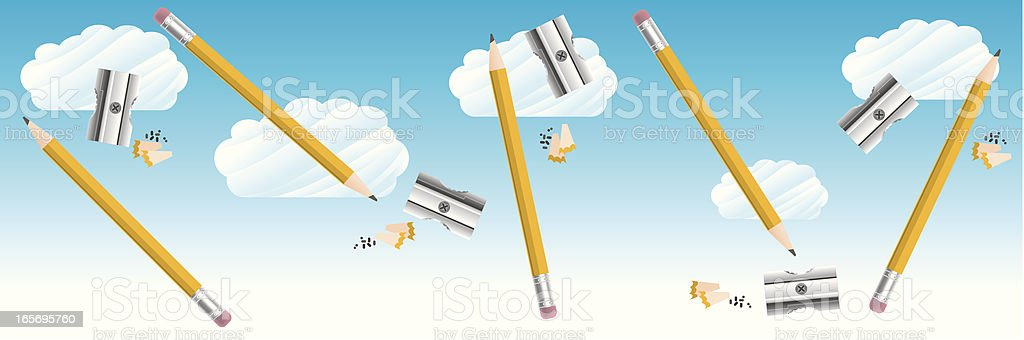 Pencils and Sharpeners dancing in the Clouds royalty-free stock vector art