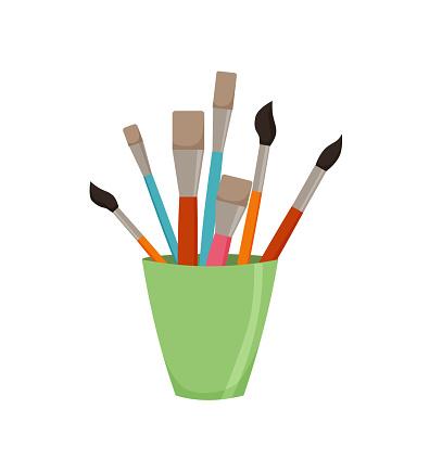 Pencils, brushes, in jar colorful vector illustration.