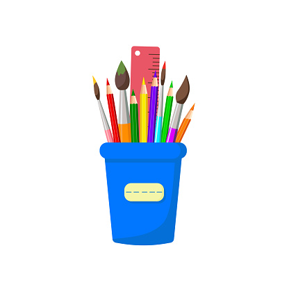 Pencils, brushes, ruler in stand, isolated on white background