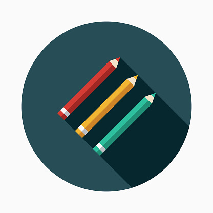 Pencils Flat Design Arts Icon with Side Shadow