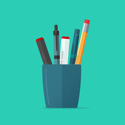 Pencils holder vector illustration or flat cartoon blue glass with stationery pens isolated clipart