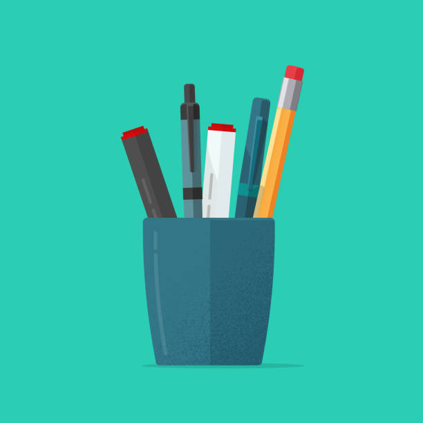 Pencils holder vector illustration or flat cartoon blue glass with stationery pens isolated clipart vector art illustration