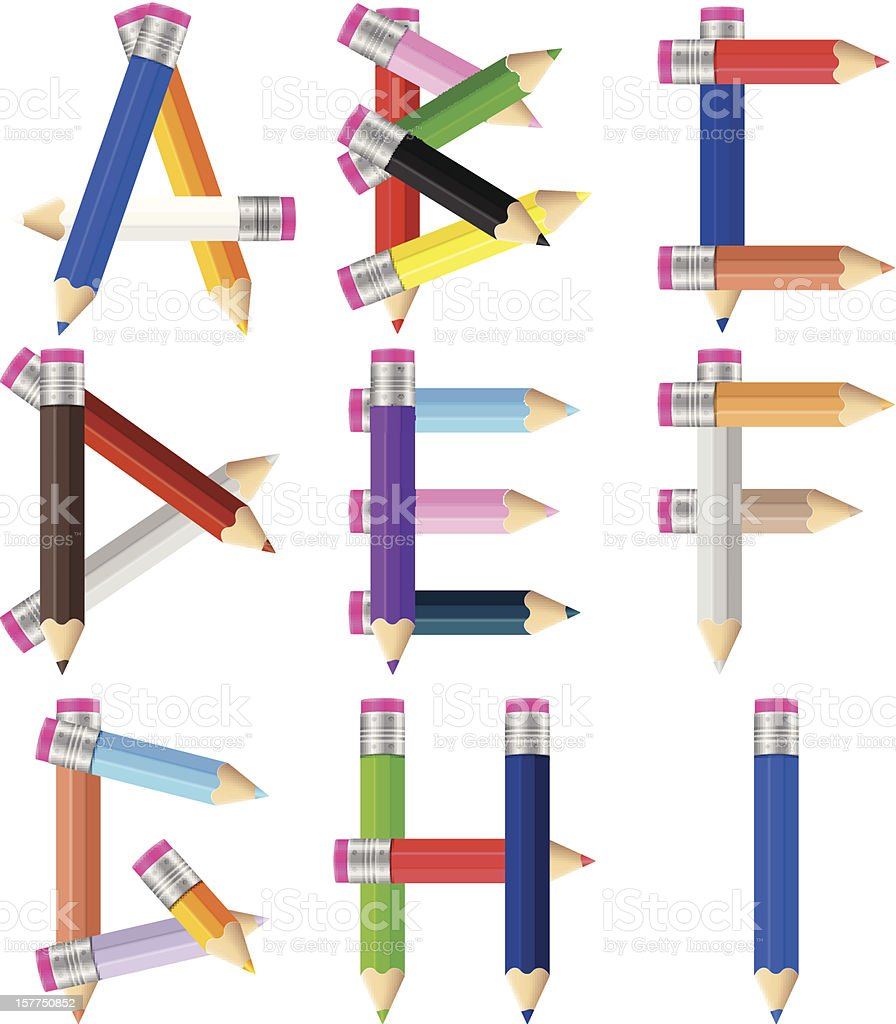 pencils letter A-I royalty-free pencils letter ai stock vector art & more images of alphabet