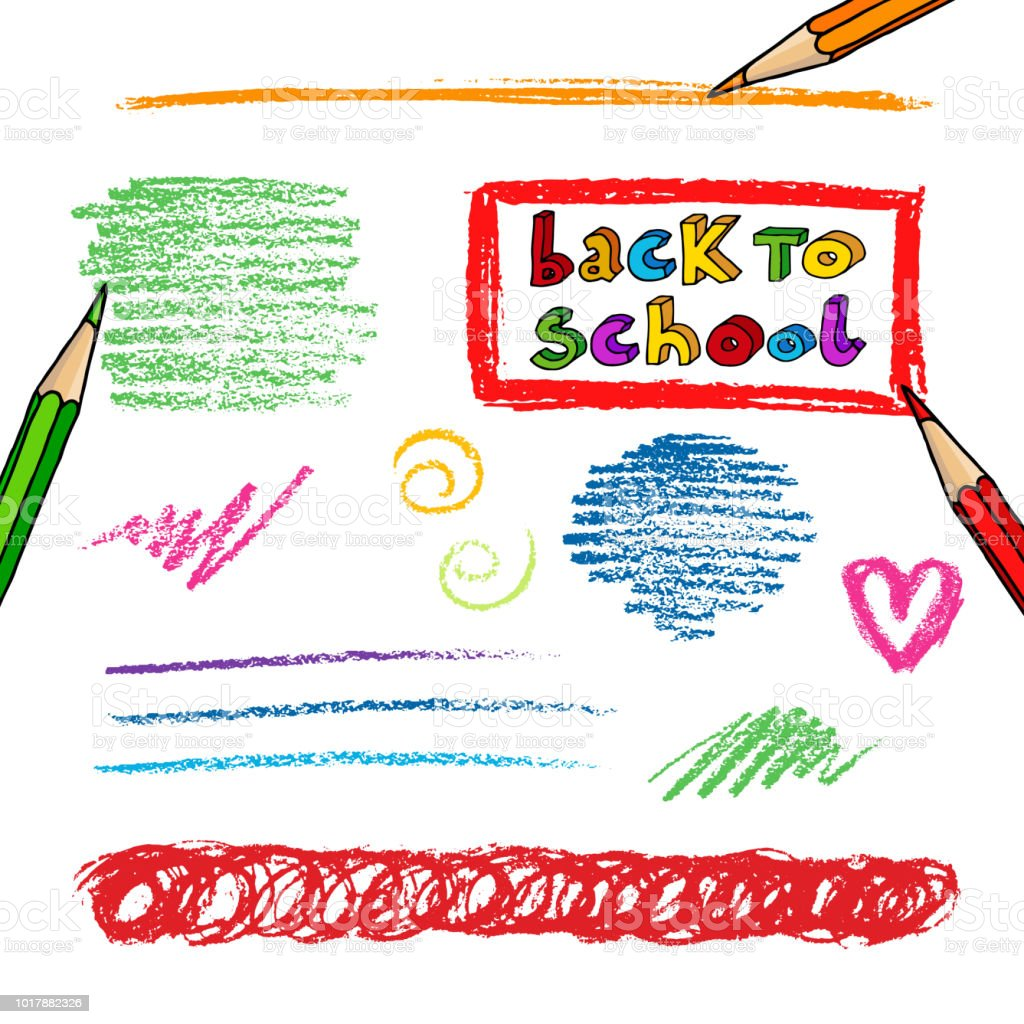 Pencils Strokes And Back To School Greetings Stock Vector Art More