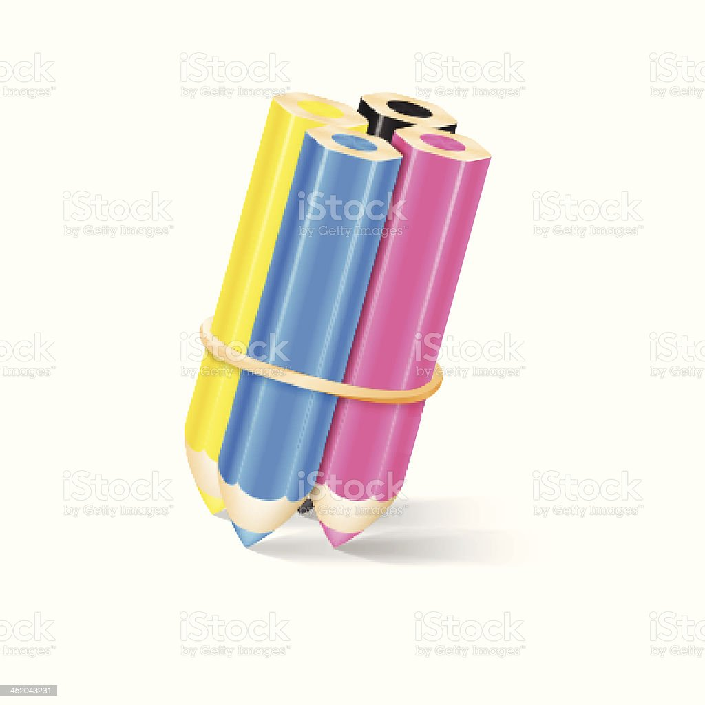 CMYK Pencils With Rubber Band. Vector Illustration royalty-free stock vector art