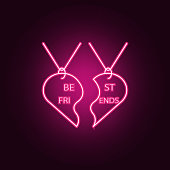 pendant best friends icon. Elements of Friendship in neon style icons. Simple icon for websites, web design, mobile app, info graphics